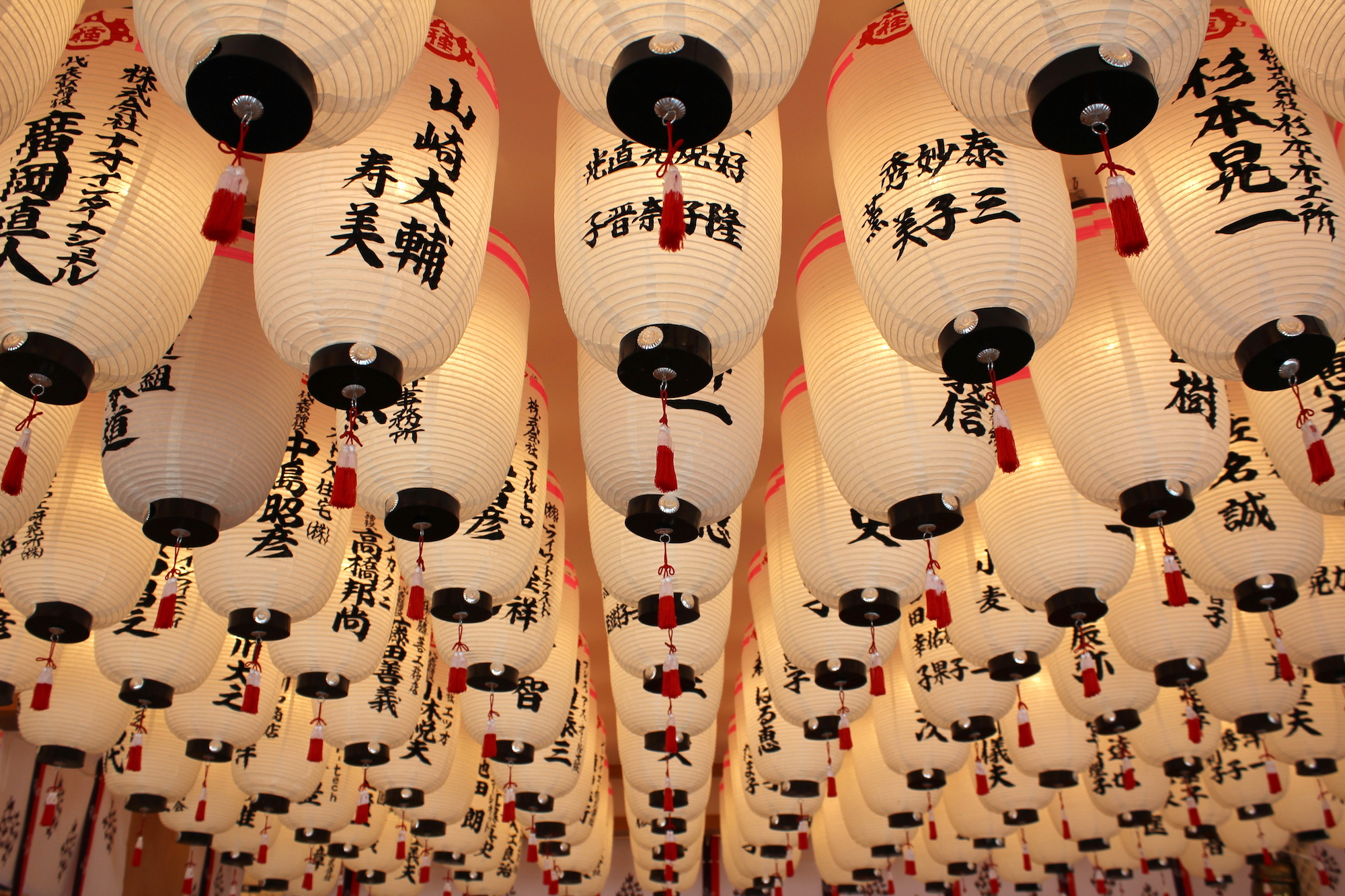 Rows of Lanterns inside shrine