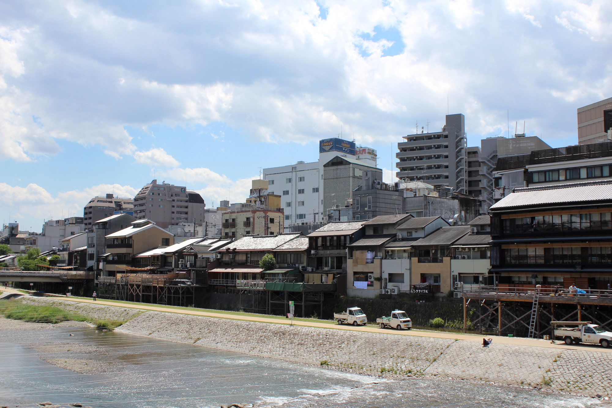 Homes along the Kamo river in central Kyoto