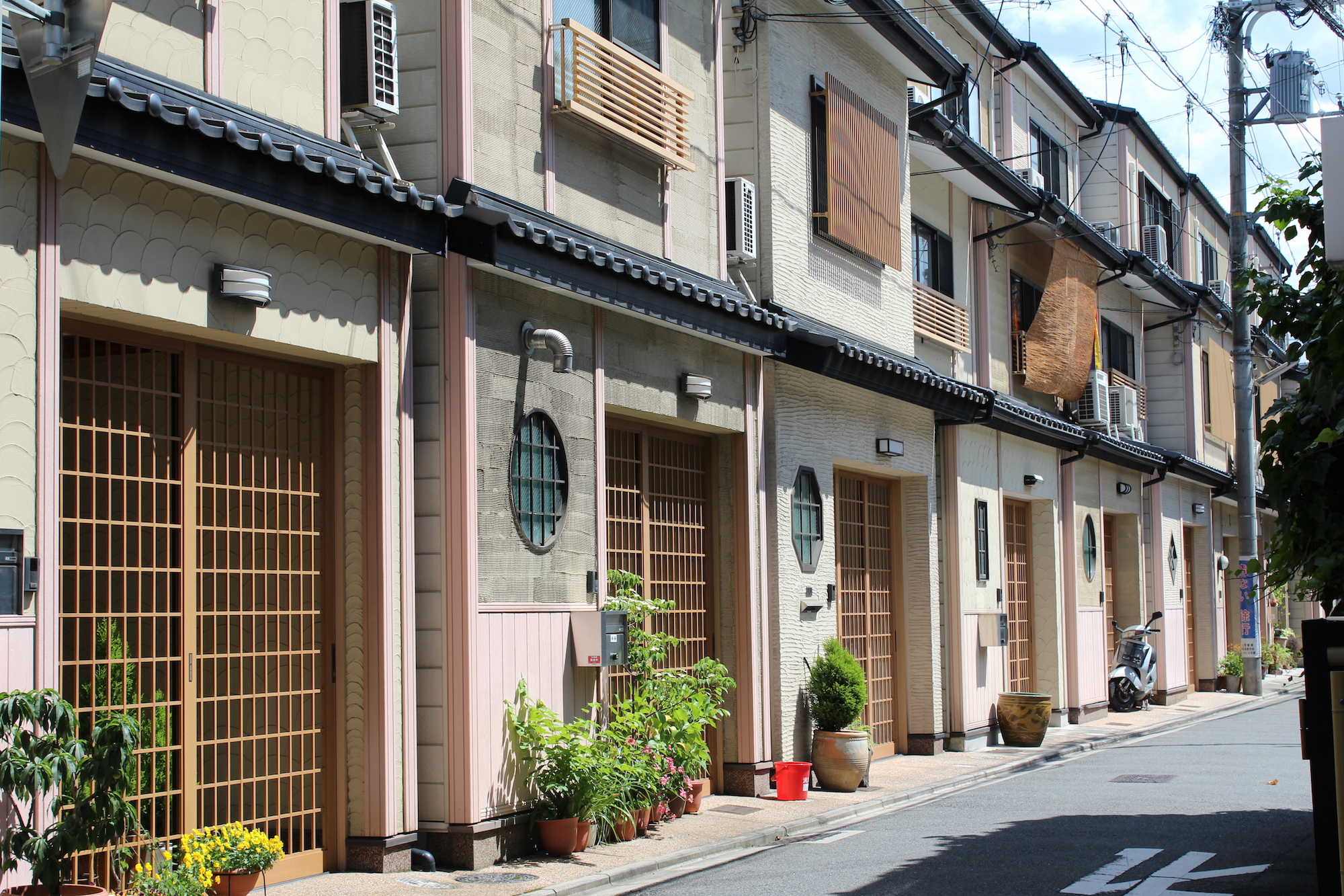 A compact row of homes in Kyoto
