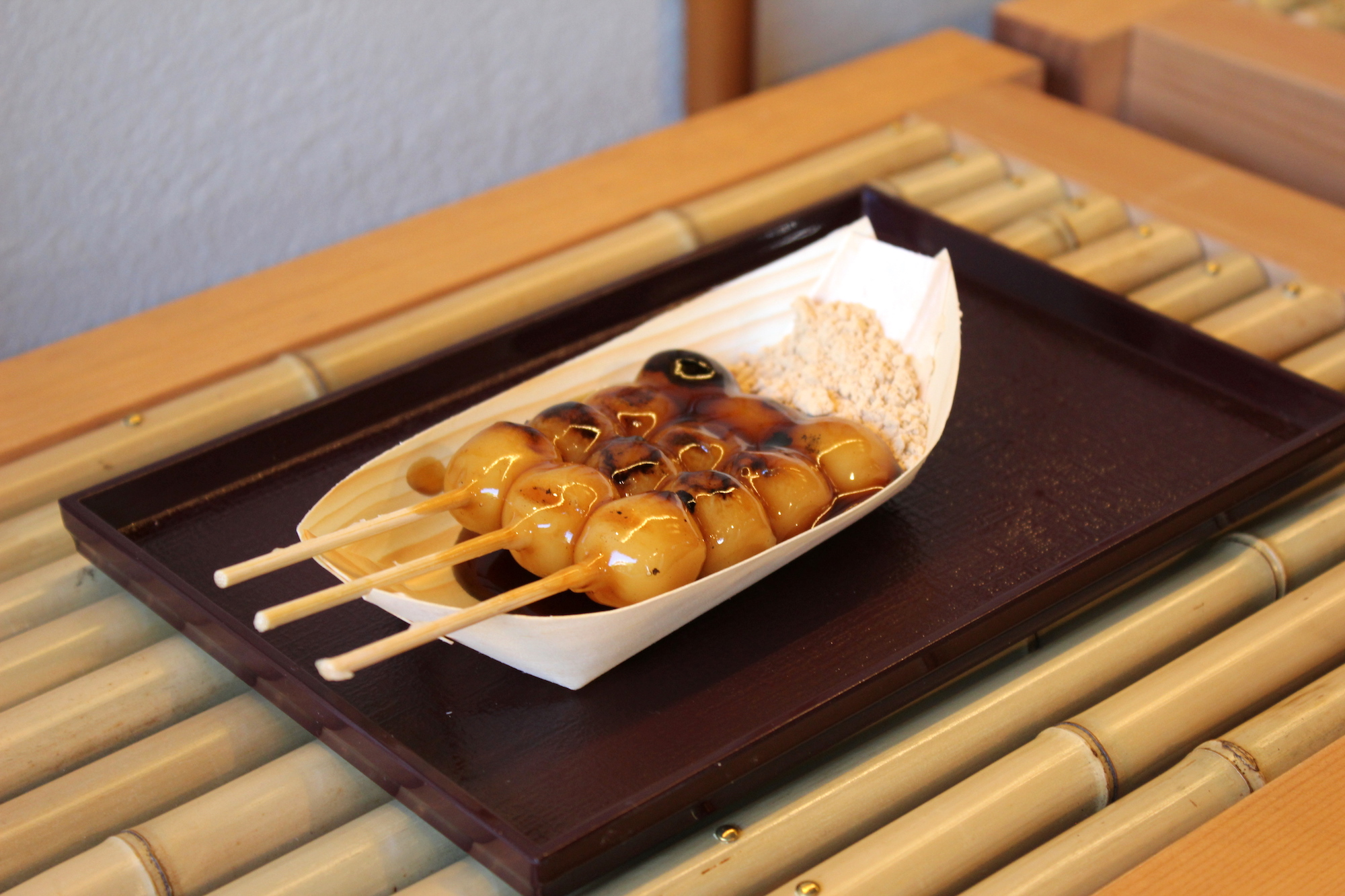 Fresh mitarashi dango