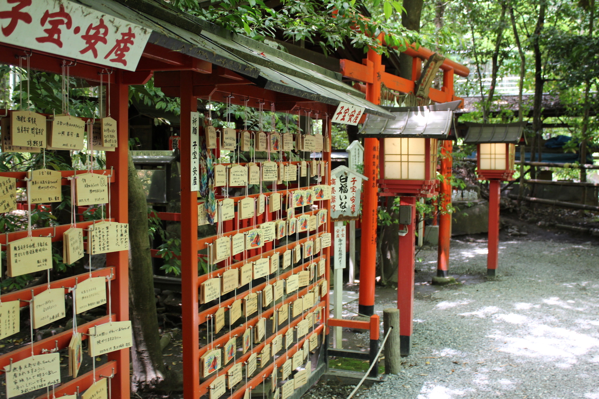 Rows of Ema at a small Japanese shrine
