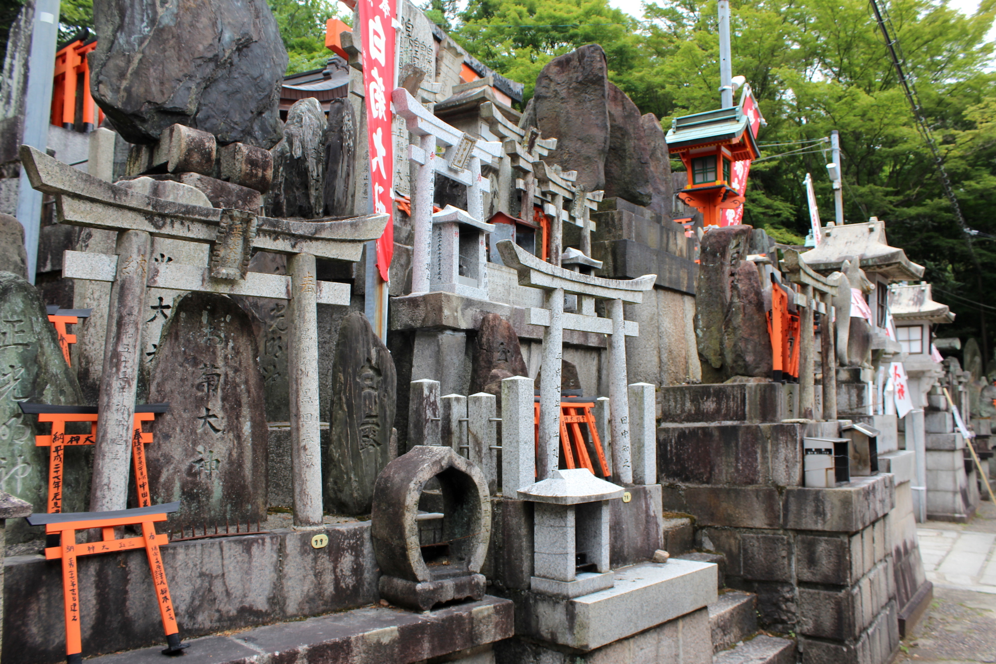 A collection of offering shrines in Inari Jinja