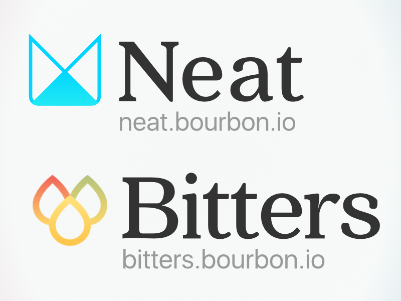 The updated logos for Neat and Bitters