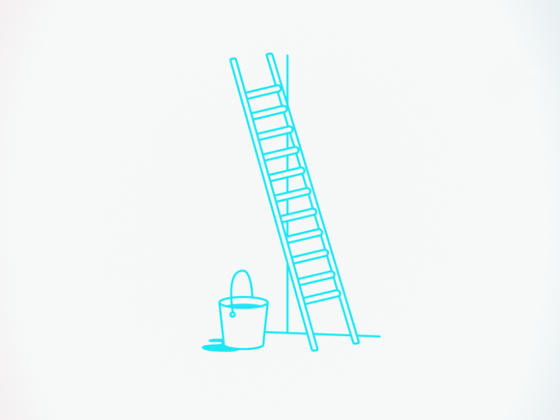an illustration of a bucket and ladder